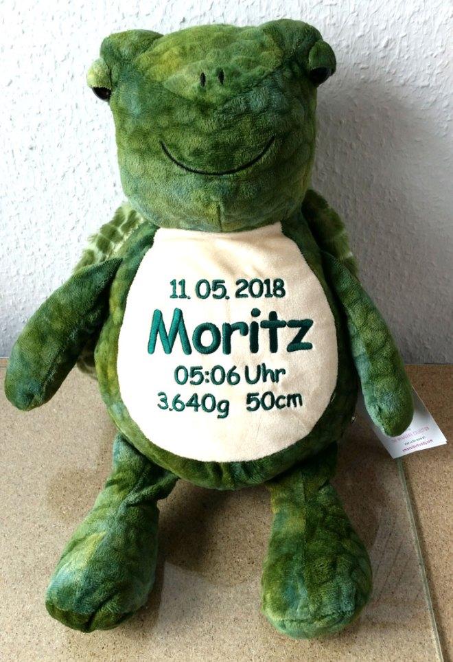 Plüschtier Schildkröte mit Namen, Geburtsdatum, Uhrzeit, Gewicht und Größe - Detail