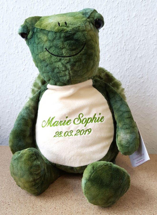 Plüschtier Schildkröte mit Namen und Geburtsdatum