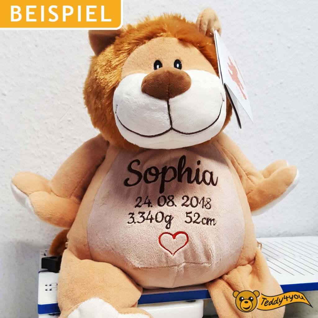 Plüschtier Löwe mit Geburtsdatum