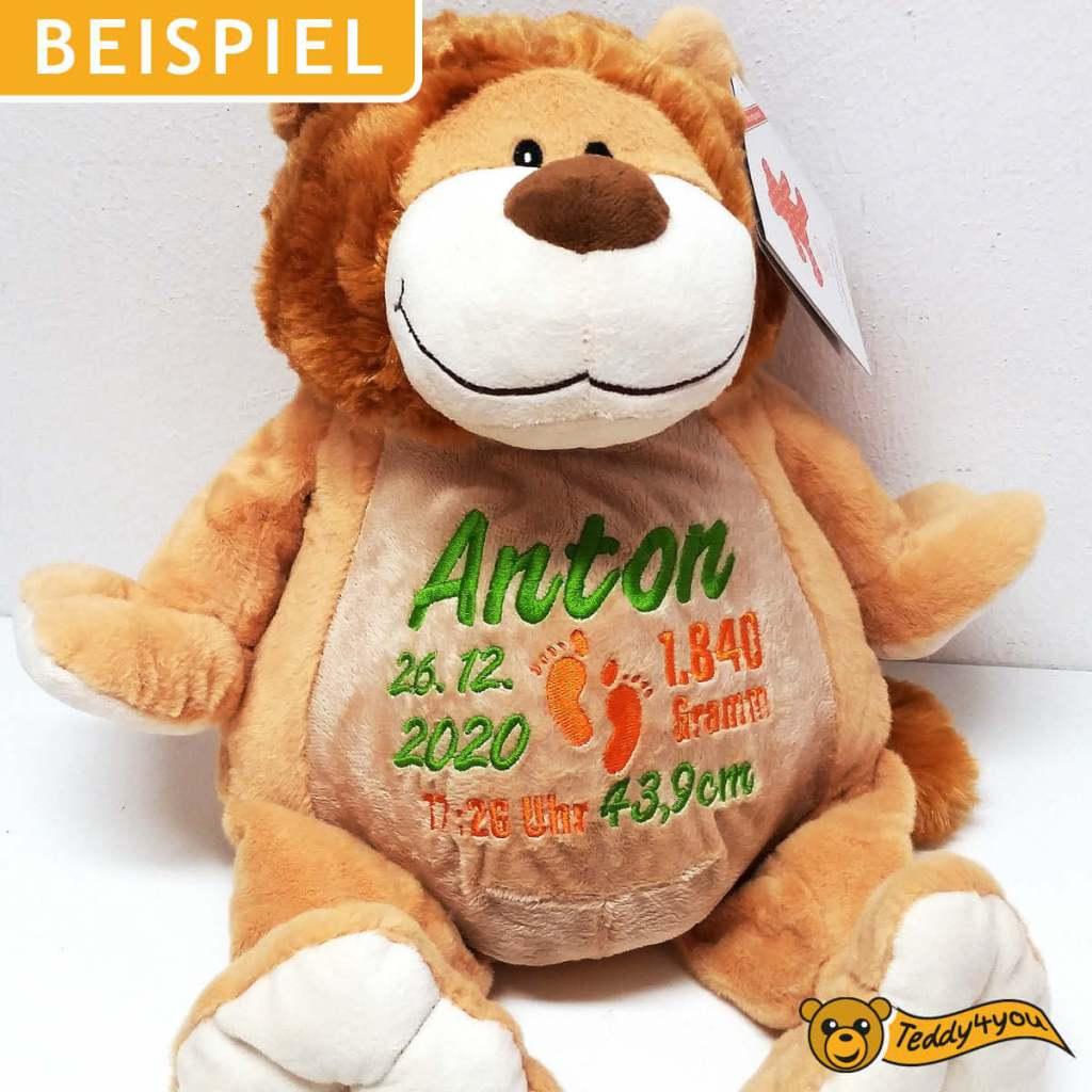 Süße Löwe mit Namen und Geburtsdaten bestickt