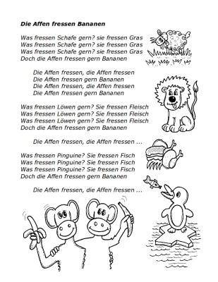Text zum Lied: Affen fressen Bananen