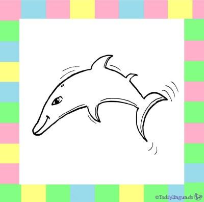 Delphin zum Ausmalen auf weißem Hintergrund