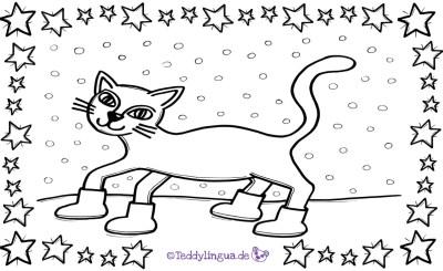 Die Katze lief im Schnee