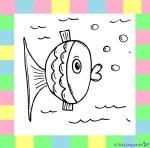 Fisch zum Ausmalen auf weißem Hintergrund