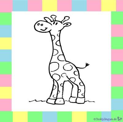 Giraffe zum Ausmalen auf weißem Hintergrund