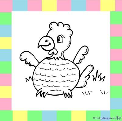 Huhn zum Ausmalen auf weißem Hintergrund