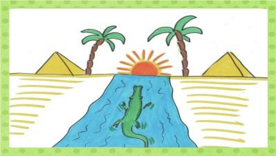 Das Krokodil schwimmt zurück zu seinem Nil.