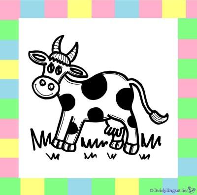 Kuh zum Ausmalen auf weißem Hintergrund