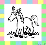 Pferd zum Ausmalen auf weißem Hintergrund