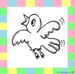 Vogel zum Ausmalen auf weißem Hintergrund