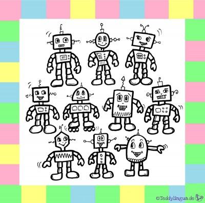 Zehn Roboter