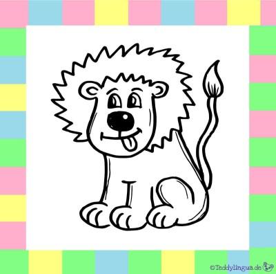 Löwe zum Ausmalen auf weißem Hintergrund