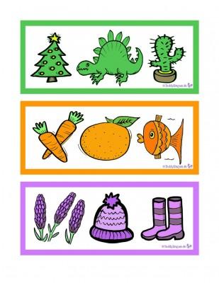 Zuordnungsspiel grun orange lila