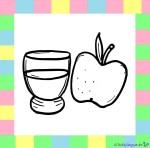 Apfelsaft und Apfel zum Ausmalen