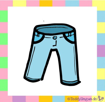 eine blaue Hose