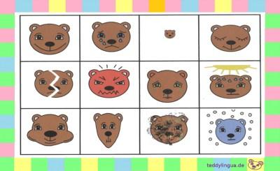 Lottospiel Bärchen Adjektive: froh, traurig, klein, müde, kaputt, wütend, krank, heiß, dick, dünn, schmutzig, kalt