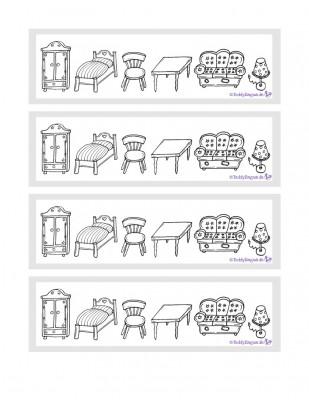 Zuordnungsspiel Möbel zum Ausmalen