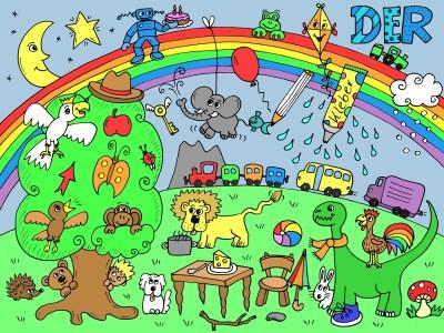 Wimmelbild Artikel DER: Mond, Stern, Regenbogen, Roboter, Kuchen, Frosch, Drachen, Traktor, Anhänger, Kakadu, Hut, Schlüssel, Elefant, Fisch, Luftballon, Stift, Kleber, Regen, Schnee, Apfel, Schmetterling, Pfeil, Vogel, Affe, Marienkäfer, Baum, Stamm, Bär, Igel, Junge, Hund, Berg, Zug, Bus, Lastwagen, Löwe, Topf, Hund, Tisch, Teller, Löffel, Käse, Stuhl, Stock, Stein, Schirm, Ball, Hase, Dinosaurier, Schal, Hahn, Schuh, Pilz
