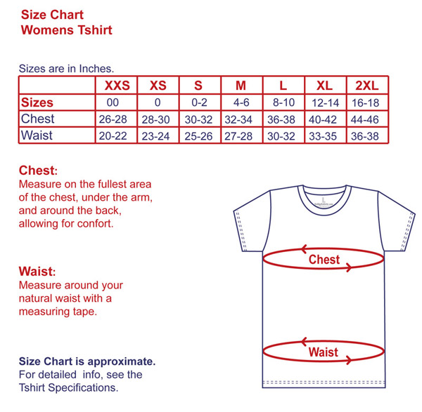Standard T Shirt Dimension And Placement Chart: Womens T-shirts Size Chart