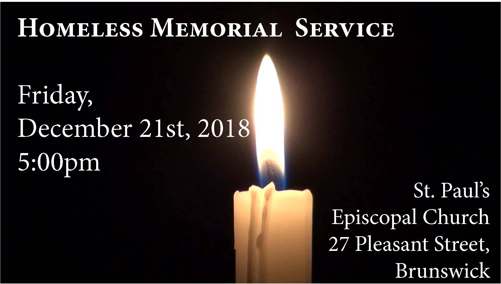 Join Us for the Homeless Memorial Service on 12/21/18