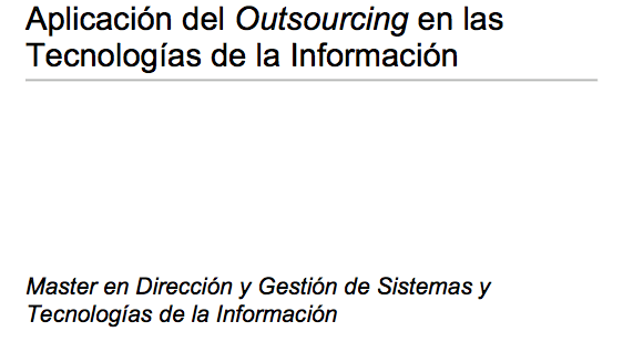 Implementation of Outsourcing in Information Technology
