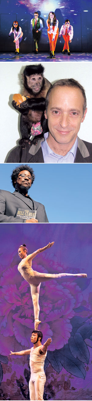 "FROM TOP: ""Schoolhouse Rock Live!"" comes to UCSB's Campbell Hall on Oct. 12 - Tim Trumble photo David Sedaris, may 4 - UCSB Arts & Lectures W. Kamau Bell, Feb.5 - UCSB Arts & Lectures Cirque Ziva, Jan. 24 - Amitava Sarkar photo"