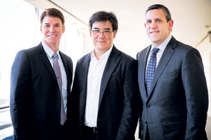 On Monday, Music Academy of the West President Scott Reed, announced a four-year deal to partner with the New York Philharmonic. Above, Reed is pictured at left, alongside New York Philharmonic conductor Alan Gilbert, center, and Matthew VanBesien.COURTESY PHOTOS