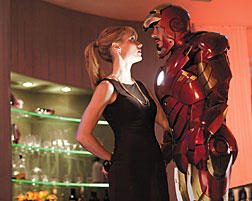 "Gwyneth Paltrow's Pepper Potts, left, and Robert Downey Jr.'s Tony Stark continue their off-kilter romance in ""Iron Man 2."" Paramount Pictures Photos"