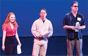 From left to right: Kelly Ary, Dan Gunther and Peter McCorkle sing about the origin of Center Stage at the theater Saturday night. NIK BLASKOVICH/NEWS-PRESS