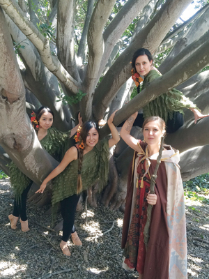 """Performing in """"The Tempest"""" are, from left, Ami Shimada, Scarlett Jia and Kassidy Klinesmith as Ariel and Danielle De La O as Prospera. Gerry Hansen photo"""