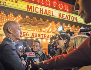 "Michael Keaton speaks to reporters before entering the Arlington Theatre to accept the Santa Barbara International Film Festival's Modern Master Award for his performance in ""Birdman."" NIK BLASKOVICH/NEWS-PRESS PHOTOS"