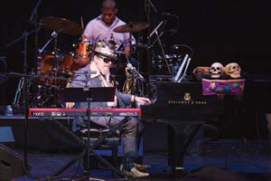"Dr. John, ""The Night Tripper,"" played a smooth set of his classics and new songs from his 2012 album ""Locked Down"" at the Granada on Friday. Reggie Jackson, played drums, part of a five-piece band that accompanied the famous New Orleans pianist. MICHAEL MORIATIS/NEWS-PRESS"