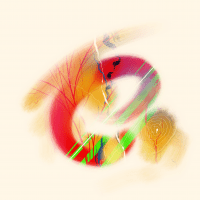 """""""Alpha Lock, 14"""" abstract multi-colored"""