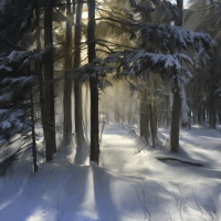 Snow Flurry in Sunlight
