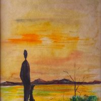watercolor figure silhouetted on desert sunset