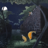 two golden fish being fed petals under moonlight