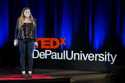"""Rachel Pride presents her talk """"Courage to Disconnect"""" at TEDxDePaulUniversity Tuesday, April 18, 2017, in the Lincoln Park Student Center. TEDxDePaulUniversity is an independently run, self-organized event. Through the theme """"Courage to Connect"""" 10 speakers from across the DePaul community challenged thoughts and inspired ideas through a series of engaging talks and presentations. (DePaul University/Jeff Carrion)"""