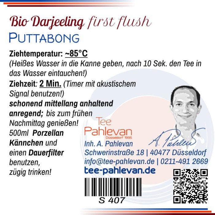 Bio Schwarzer Tee Darjeeling Puttabong first flush | hell vollmundig zart blumig von Tee Pahlevan