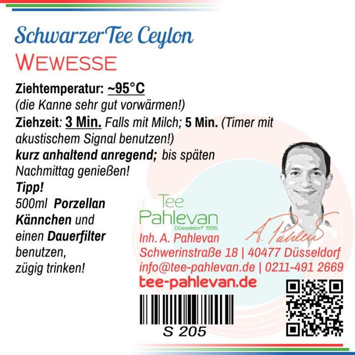 Schwarzer Tee Ceylon Wewesse   fein jund dunkel vollmundig von Tee Pahlevan