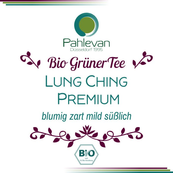 Bio Grüner Tee Lung Ching Premium   China blumig zart mild süßlich von Tee Pahlevan