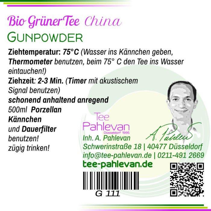 Bio Grüner Tee Gunpowder | Tempel of Heaven 75°C, Ziehzeit 2-3 Minuten anregend von Tee Pahlevan
