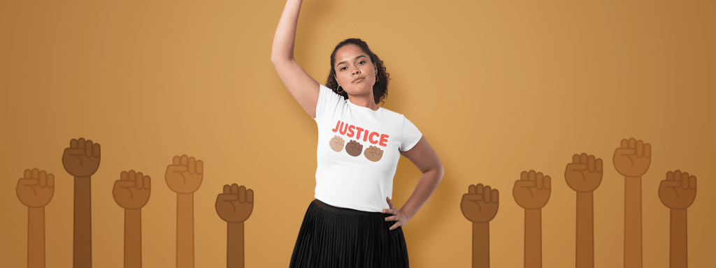 Young woman wearing Black Lives Matter BLM Design Tee