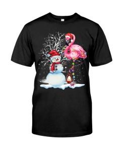Flamingo Snowman Christmas Classic T-Shirt