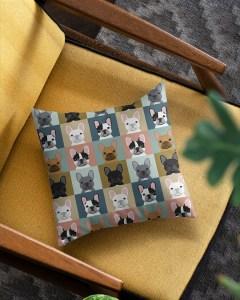Frenchie Portrait Square Pillowcase