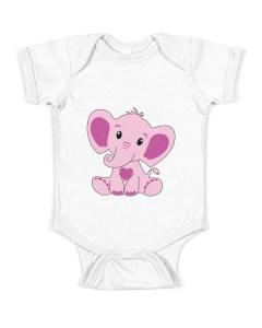 Baby Elephant Pink Baby Bodysuit Baby Onesie