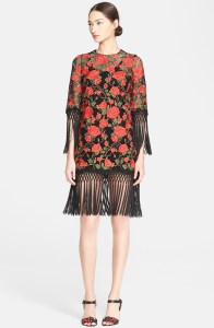 Floral Embroidered Minidress with Macrame Fringe