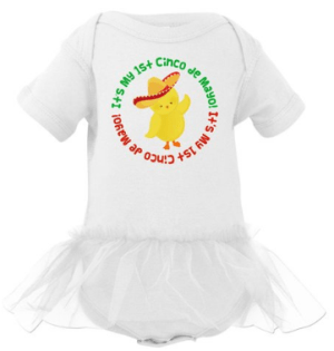 Inktastic Baby Girls' 1st Cinco de Mayo Chick Infant Tutu Bodysuit in White