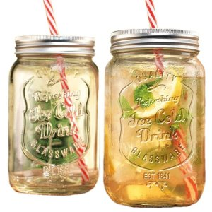 Set of Two (2) Clear Glass Mason Jar Beverage Cups