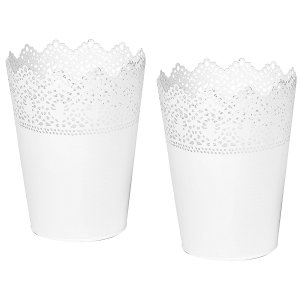 White Metal Lace Cutout Flower Buckets