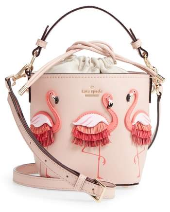Kate Spade New York By The Pool – Flamingo Pippa Leather Bucket Bag